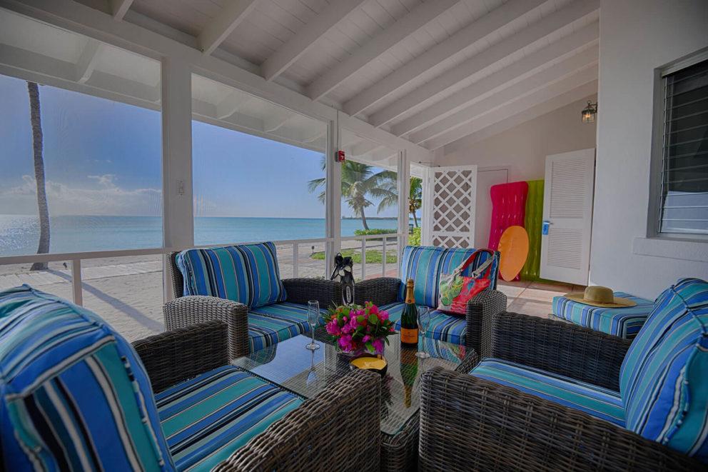 Beachfront bungalow patio