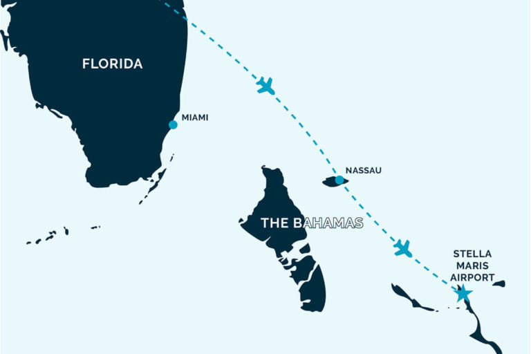 Map showing flights to Bahamas